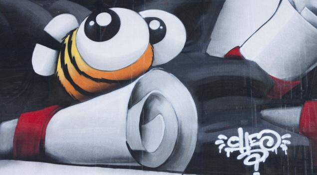 Cheo's bee on the Croome scaffold wrap
